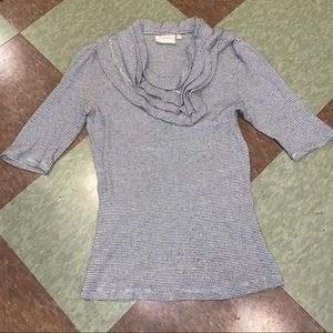Anthro scoop neck ruffle knit top sm